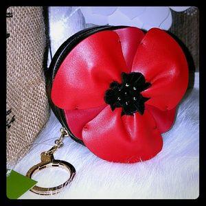 Kate spade poppy coin purse keychain
